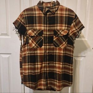 H&M Distressed flannel with cut off sleeves
